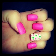 Hot pink and lime green nails nails pinterest lime green hot pink and lime green polka dot nails prinsesfo Choice Image