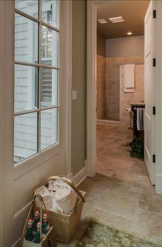 Interiors. Interior Design Ideas.  A convenient bathroom by the mudroom comes handy in this house. #InteriorDesignIdeas #Interiors