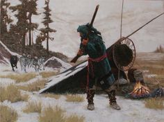 """The Howling"" Fur Trade Era Mountain Man Rendezvous Balck Powder muzzleloader rifle Paintings by John Phelps"