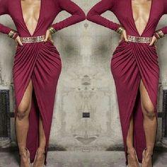 Goddess Red Draped Maxi Dress