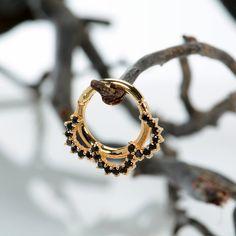 Septum Clicker - Septum clicker - Black diamond - daith earring - tragus earrings - septum j Septum Ring, Septum Clicker, Septum Jewelry, Solid Gold, White Gold, Ear Tunnels, Ruby Sapphire, Ear Gauges, Black Diamond