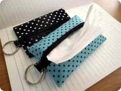 Polka dot tissue covers for purse or travel, gift under 5 dollars, Travel Tissue Case, tissue holder, Pocket tissue case,