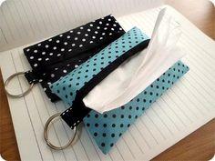 Polka dot tissue covers for purse or travel, gift under 5 dollars, Travel Tissue Case, tissue holder, Pocket tissue case,
