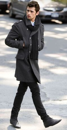 mens fashion, coat, scarf, black, winter