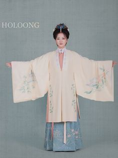 Ming dynasty costumes Winter Model wearing Hanfu Women Cloak Clothing