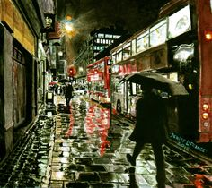 Rainy Night In London ~ Watercolor By Canadian painter Denise LaFrance (property of my friend & favorite UK Crime-Writer Peter James)