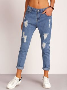 SheIn offers Ripped Detial Rolled Hem Jeans & more to fit your fashionable needs. Distressed Denim Jeans, Ripped Denim, Blue Denim Jeans, Denim Pants, Mom Jeans, Pink Jeans, Jeans Dress, Loose Jeans, Pantalones Boyfriend