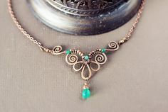 Wire wrapped hammered oxidized antiqued hammered copper necklace with chrysoprase by SabiKrabi