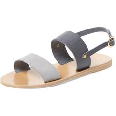 KYMA KYMA Women's Mykonos Leather Sandal - Grey - Size 35 (2.797.495 VND) ❤ liked on Polyvore featuring shoes, sandals, grey, grey leather sandals, metallic sandals, ankle strap sandals, grey flat sandals and grey shoes