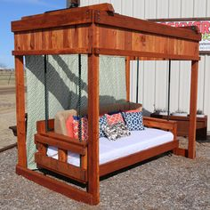 This outdoor day bed swing is the perfect addition to your outdoor living space. Outdoor Daybed, Outdoor Play, Outdoor Living, Outdoor Furniture, Outdoor Decor, Swings, Backyard Landscaping, Living Spaces, Outdoors