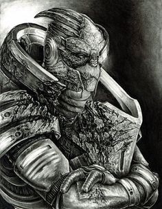 This is an original charcoal drawing of Garrus Vakarian as Archangel, from Mass Effect 2. It is drawn on 11x14 high quality recycled drawing paper.