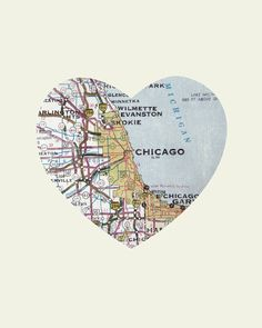 Chicago Art City Heart Map 16x20 Art Print by LuciusArt on Etsy