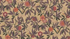 Primavera (DVIWPR102) - Sanderson Wallpapers - Based on a 1926 document, with a rich  profusion of rhododendron leaves, fruit and flowers create this classic design. Available in 5 colourways, shown in the grape and chocolate colourway. Please request a sample for true colour match. Wide width.
