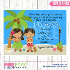 LUAU Birthday Party INVITATION or Thank You by PinkPickleParties, $10.00