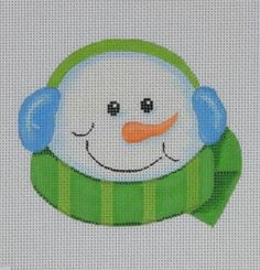 Pepperberry snowman in earmuffs needlepoint