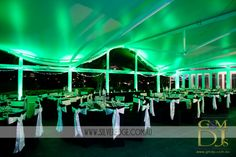 Green wedding lighting in the Harbour Room at the Landing at Dockside by G&M DJs   Magnifique Weddings #gmdjs #magnifiqueweddings #weddinglighting #docksideweddings #silveredgephotography @gmdjs