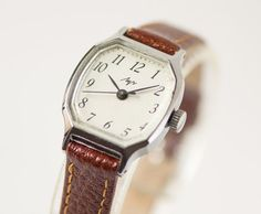 Rhomb women's watch burgundy white shades wrist watch by SovietEra, $63.00