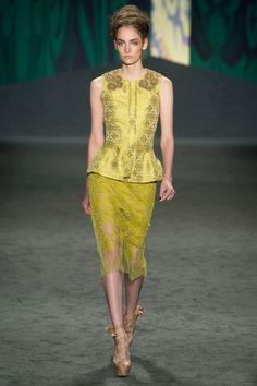 chartreuse yellow brocade lace sleeveless top skirt - vera wang - spring 2013 rtw #nyfw