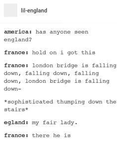 So London Bridge is the same as What Team? for America and Les Miserables for France? If they all have one, what is Canada's?