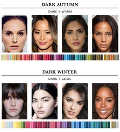 Which season are you? - the concept wardrobe Which season are you? - the concept wardrobe Paleta Deep Winter, Deep Autumn Color Palette, Skin Color Palette, Deep Winter Colors, Colors For Dark Skin, Fall Hair Colors, Neutral Skin Tone, Warm Skin Tones, Winter Typ