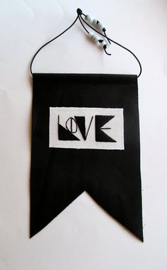 #geometric love banner on black leather by AnAstridEndeavor