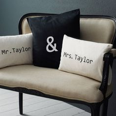 Personalised 'Mr & Mrs' Cushion Cover Set  by Minna's room