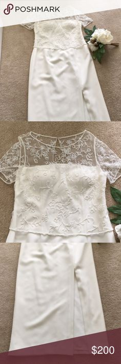 "Michelangelo Beaded Wedding Gown in Candlelight Gorgeous Michelangelo gown in candlelight. Pristine condition - worn one half-day, then cleaned and stored. Pictures don't do it justice! Beautiful beading, fully lined skirt with knee-high slit, sewn in bra cups. Perfect for a brunch wedding or an ""Encore Bride""! Smoke free, pet free home. David's Bridal Dresses Wedding"