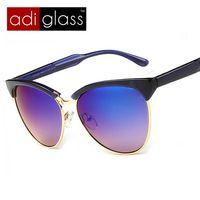 Adiglass marca Causl ojo de gato las Gafas marco Semi sin montura de Gafas hombres del verano Gafas de sol UV400 Cateye