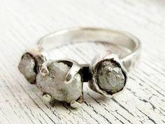 Rustic Rough Uncut Diamond Ring 2 Carat Sterling Silver