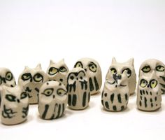owl figurine  six owl set  raw earth white by SongandBranch, $26.00