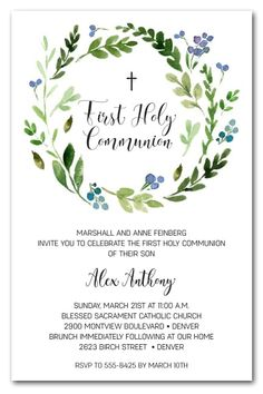 A beautiful watercolor wreath of spring leaves and flower buds in shades of blue, these invitationsare perfect for your child's first holy communion invitations, baptism invitations or christening invitations. Actual Size: x First Communion Cards, Boys First Communion, Holy Communion Invitations, First Communion Favors, Holy Communion Cakes, Baptism Invitation For Boys, Christening Invitations Girl, Communion Decorations, Baby Baptism