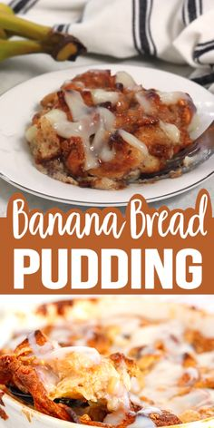 Banana bread Pudding made with white chocolate chips baked to perfect and topped. - Banana bread Pudding made with white chocolate chips baked to perfect and topped with a delicious s - Best Bread Pudding Recipe, Recipe Old Bread, Hawaiian Bread Pudding Recipe, Easy Bread Pudding, Custard Bread Pudding, Bread Pudding With Croissants, Old Fashioned Bread Pudding, Delicious Desserts, Dessert