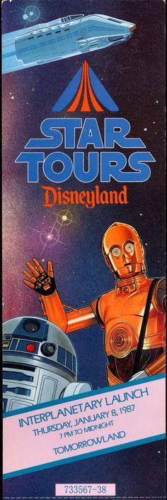 Star Tours Opening Day Ticket! 1987, Disneyland