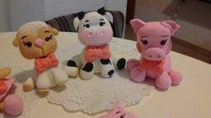 Animales de la granja porcelana