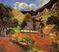 Landscape with three figures, 1901 by Paul Gauguin, 2nd Tahiti period. Post-Impressionism. landscape. Carnegie Museum of Art, Pittsburgh, USA