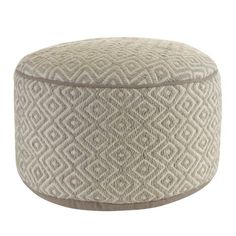 Klear Vu Diamond Pattern Wool Round Ottoman Pouf, x 20 x 20 x Gray Moroccan Leather Pouf, Round Ottoman, Grey Fabric, Diamond Pattern, Traditional Design, Hand Weaving, Beige, Langley Street, Yard Furniture