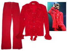 Prince stage-worn red costume, also worn by Prince for the cover art of his album ''Newpower Soul