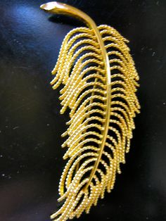 Vintage Monet Gold Feather Pin Brooch