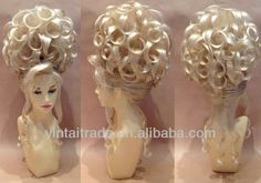 Huge Deluxe Drag Queen Updo Wig Blonde & Curly,snythetic lace front wig