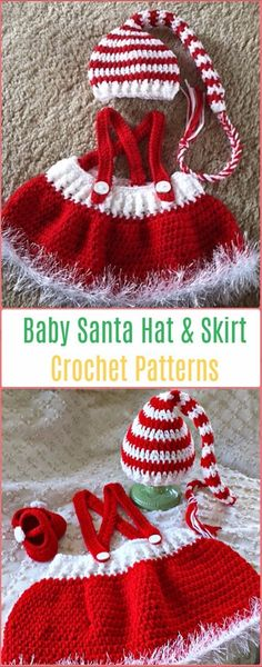 Crochet Baby Hats Crochet Baby Santa Hat and Skirt Paid Pattern - Crochet Christmas Hat Gifts Patterns - Crochet Christmas Hat Gifts Free Patterns Tutorials: Crochet Christmas Tree, Elf hat, santa hat, elf hat, Snowman hat holiday gift Crochet Baby Blanket Beginner, Crochet Baby Hat Patterns, Crochet Baby Clothes, Newborn Crochet, Crochet Baby Hats, Baby Patterns, Crochet Baby Girls, Crochet Santa Hat, Crochet Christmas Hats