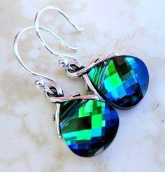 peacock wedding earrings | Peacock Earrings Blue Green Sterling Silver Aqua Sphinx Blue Wedding ...