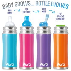 Pura Kiki Trinkflasche - 325ml - mit Weithalssauger + Schutzkappe