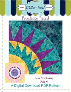 NEW YORK BEAUTY Quilt Block Pattern Instant by PatternBrat on Etsy