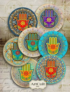 FATMA'S HAND - 2.5 inch Digital Collage Sheet moroccan Hamsa Spiritual Amulet images for Pocket Mirrors Magnets Paper Weights Printable