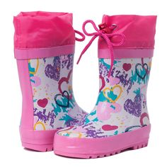 G-YOYO Toddler Girls Pink Natural Rubber Rain Boots in Fun Design (12 M US Little Kid). This lovely rainboot printed sweet heart is suitable for girls. The rain boots for kids baby can be used daily life. Lightweight cute waterproof rainshoes can be used outdoor in rainy days.100% WATERPROOF keep kids' toes and feet completely dry. The high cut off point keeps water out. Their non-insulated interior will allow little girls and boys to wear these beyond just springtime. These 100% Natura...