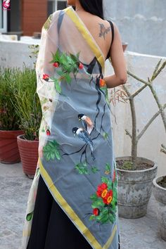 Off White Hand Painted Birds Floral Stole - Stoles