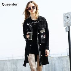 Super Deals $134.25, Buy QUEENTOR 2017 Windbreaker Autumn Winter New Fashion Pocket Black Letter Printed Middle Long Trench Coat for Women Wholesale
