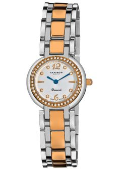 Price:$93.00 #watches Akribos XXIV AK513TTR, This exceptional Akribos XXIV Swiss Quartz women's diamond timepiece is perfect for any occasion with its graceful features. The bezel of this watch features genuine crystals with eight genuine diamond hour markers and a silver dial.