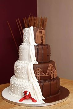 Spider man, Chocolate Travel Inspired half and half wedding cake by Sweetest Sensation Gateshead