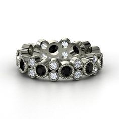 Palladium Ring with Black Onyx & Diamond | Hopscotch Eternity Band | Gemvara maybe someday this will be mine :)